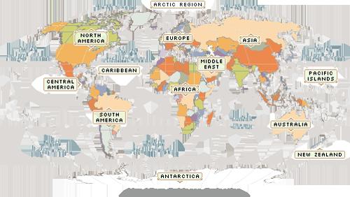Wereldkaart met namen